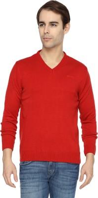 Wrangler Solid V-neck Casual Men's Red Sweater