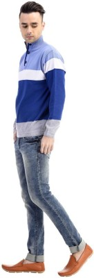 CLUB AVIS USA Striped Turtle Neck Casual Men's Blue Sweater