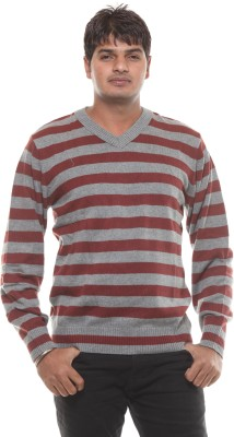 Fashion My Day Striped V-neck Casual Men's Grey Sweater