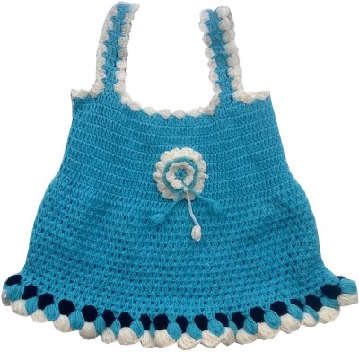 The Wool House Self Design Round Neck Casual Girl's Blue Sweater