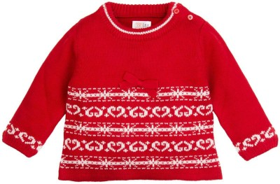 Mom & Me Woven Round Neck Casual Girl's Red Sweater