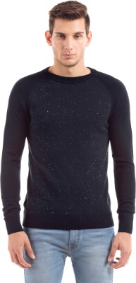Shuffle Solid Round Neck Casual Men's Blue Sweater