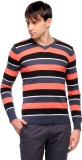 Yepme Striped V-neck Casual Men Black, R...