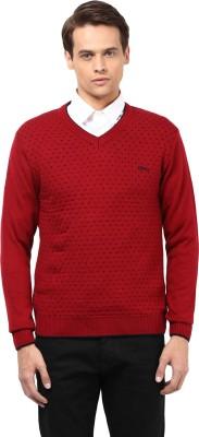 Okane Printed V-neck Men's Red Sweater