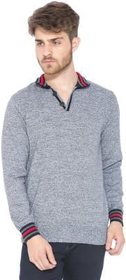 Status Quo Solid Round Neck Casual Men's Dark Blue Sweater