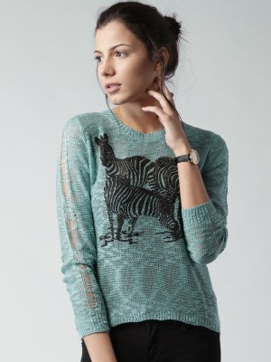 Mast & Harbour Printed Round Neck Casual Women's Green Sweater