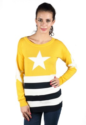 Again Striped Round Neck Casual Women's Yellow Sweater