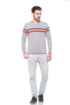 Pro Riders Striped V-neck Casual Men's Grey Sweater
