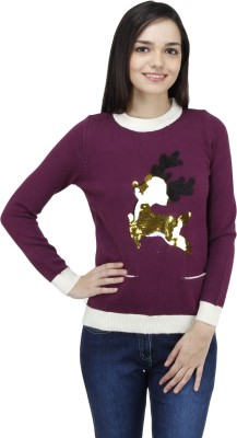 Camey Embellished Round Neck Casual Women's Purple Sweater
