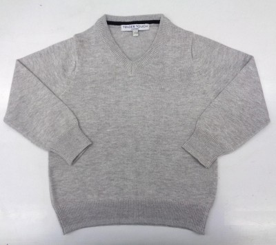 TENDER TOUCH Solid V-neck Casual Baby Girl's Grey Sweater