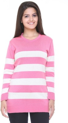 Cee-For Striped Round Neck Casual Women's Pink Sweater