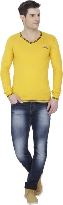 Alay Solid V-neck Casual Men's Yellow Sweater
