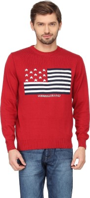 Wrangler Solid Round Neck Casual Men's Red Sweater