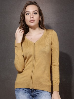 Roadster Solid V-neck Casual Women's Brown Sweater