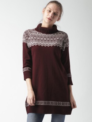 Mast & Harbour Self Design Turtle Neck Casual Women,s Maroon Sweater
