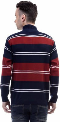 CLUB AVIS USA Striped Turtle Neck Casual Men's Maroon Sweater