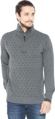 Status Quo Printed Turtle Neck Casual Men's Grey Sweater