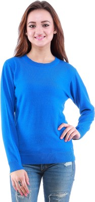 Dove Self Design Round Neck Casual Women's Light Blue Sweater