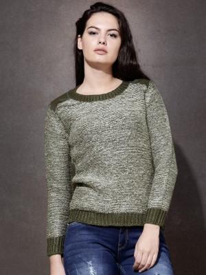 Roadster Solid Round Neck Women's Dark Green Sweater