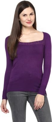 Harpa Solid Round Neck Women's Purple Sweater