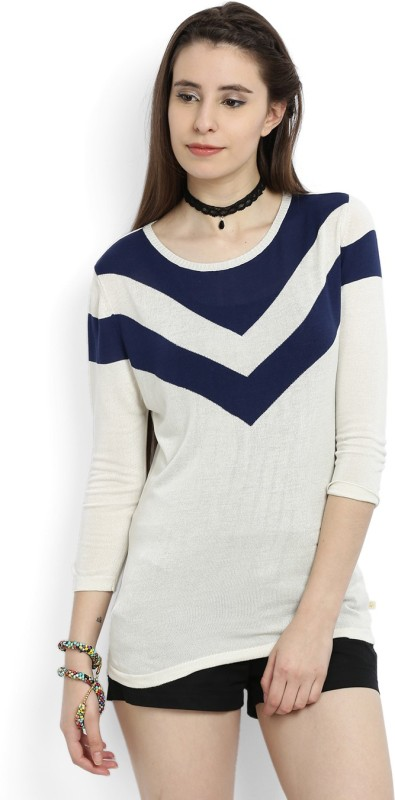 United Colors of Benetton Solid Round Neck Casual Women White, Blue Sweater