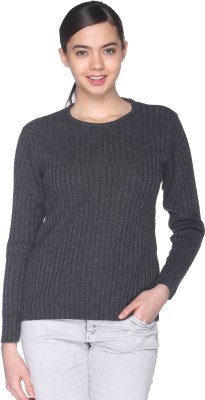 CLUB YORK Self Design Round Neck Casual Women's Grey Sweater