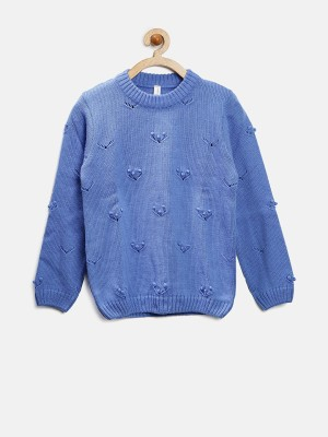 Yellow Kite Woven Round Neck Casual Girl's Blue Sweater