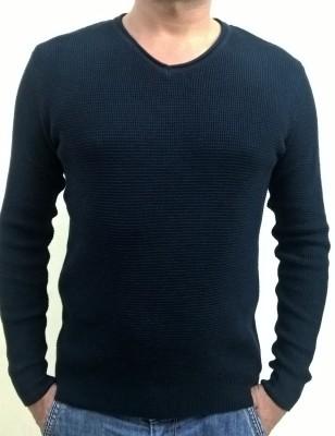 Locus Classicus Solid V-neck Men's Dark Blue Sweater
