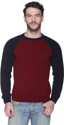 CLUB YORK Solid Round Neck Casual Men's Maroon Sweater