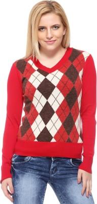 Fasnoya Argyle V-neck Casual Women's Red Sweater