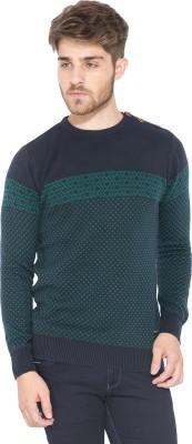 Status Quo Printed Round Neck Casual Men's Dark Blue Sweater