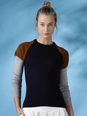 Mast & Harbour Solid Round Neck Casual Women,s Dark Blue Sweater