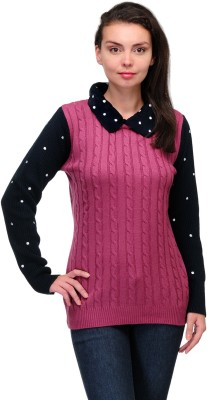 Belle Solid Round Neck Casual Women,s Pink Sweater