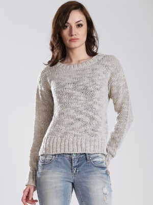GAS Solid Round Neck Casual Women's Beige Sweater