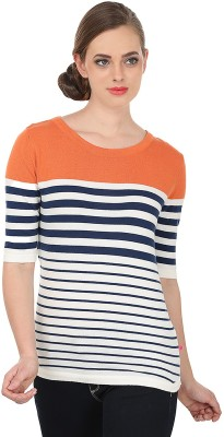 United Colors of Benetton Solid Round Neck Casual Women's Orange, White Sweater