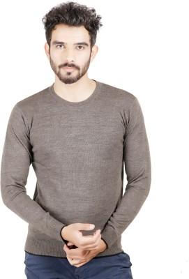 Numero Uno Solid Round Neck Casual Men's Brown Sweater