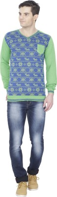Alay Graphic Print V-neck Casual Men's Blue Sweater