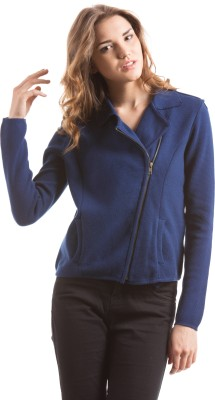 Shuffle Solid V-neck Casual Women's Blue Sweater