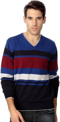 Allen Solly Striped V-neck Casual Men's Blue Sweater