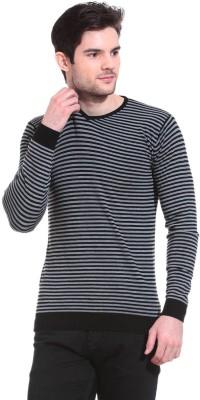 Claude 9 Striped Crew Neck Casual Men's Grey Sweater