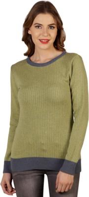 Aussehen Solid Round Neck Casual Women's Green, Grey Sweater