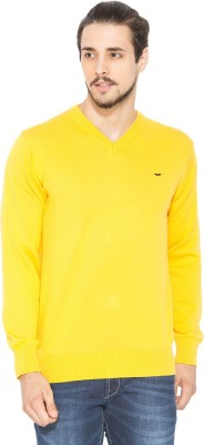 Status Quo Solid V-neck Casual Men's Yellow Sweater