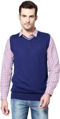 Allen Solly Solid V-neck Casual Men's Blue Sweater