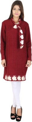Nishaan Self Design V-neck Party Women's Maroon Sweater