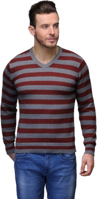 Tailor Craft Striped V-neck Casual Men's Maroon, Grey Sweater