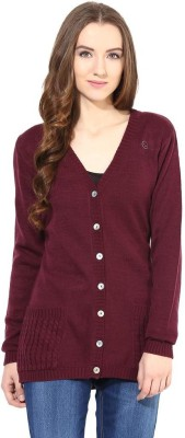 The Vanca Solid V-neck Casual Women's Red Sweater
