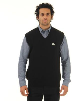 Monte Carlo Solid V-neck Casual Men's Black Sweater