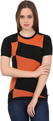 United Colors of Benetton Printed Round Neck Casual Women's Black, Orange Sweater