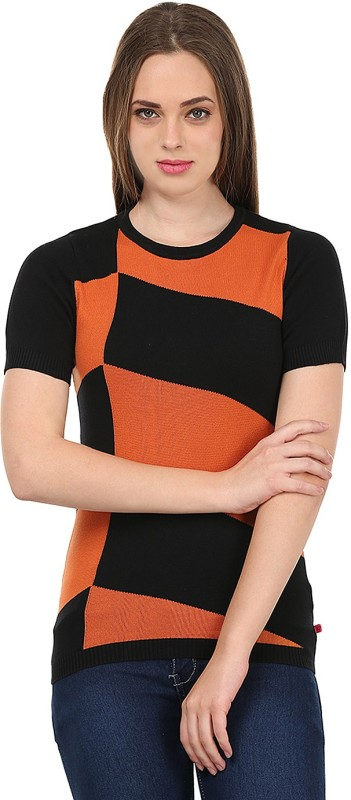 United Colors of Benetton Printed Round Neck Casual Women Black, Orange Sweater