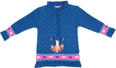 Palmer Solid Round Neck Girl,s Blue Sweater